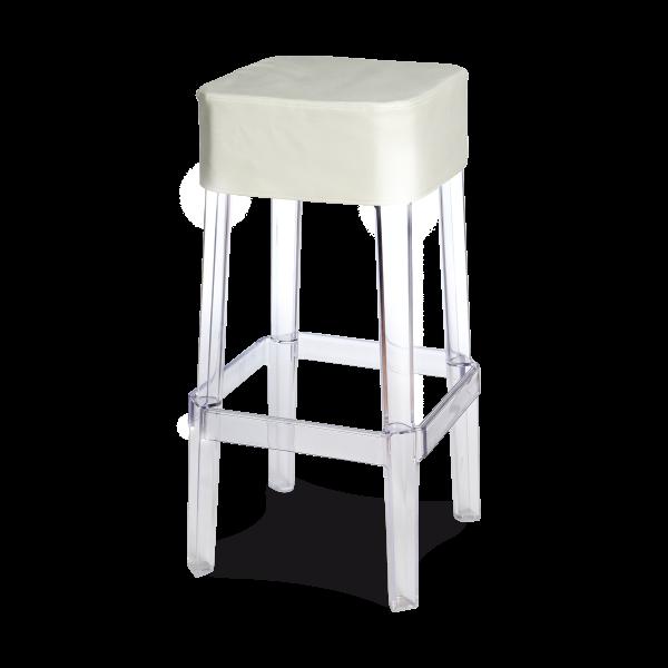 dieeventausstatter Designbarhocker Casper Sitzauflage Kunststoff weiss