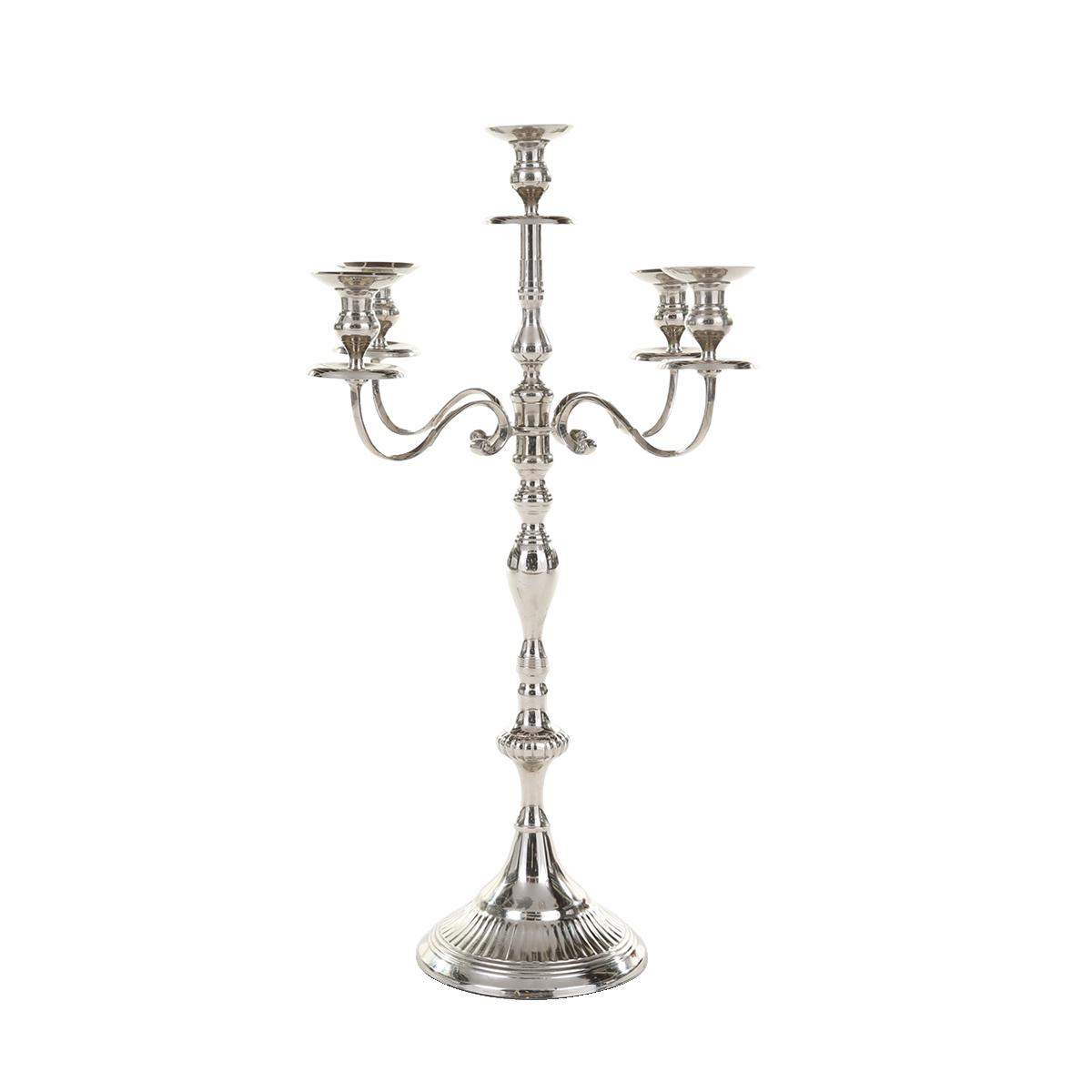 dieeventausstatter Kerzenleuchter 5-flammig in silber 80 cm