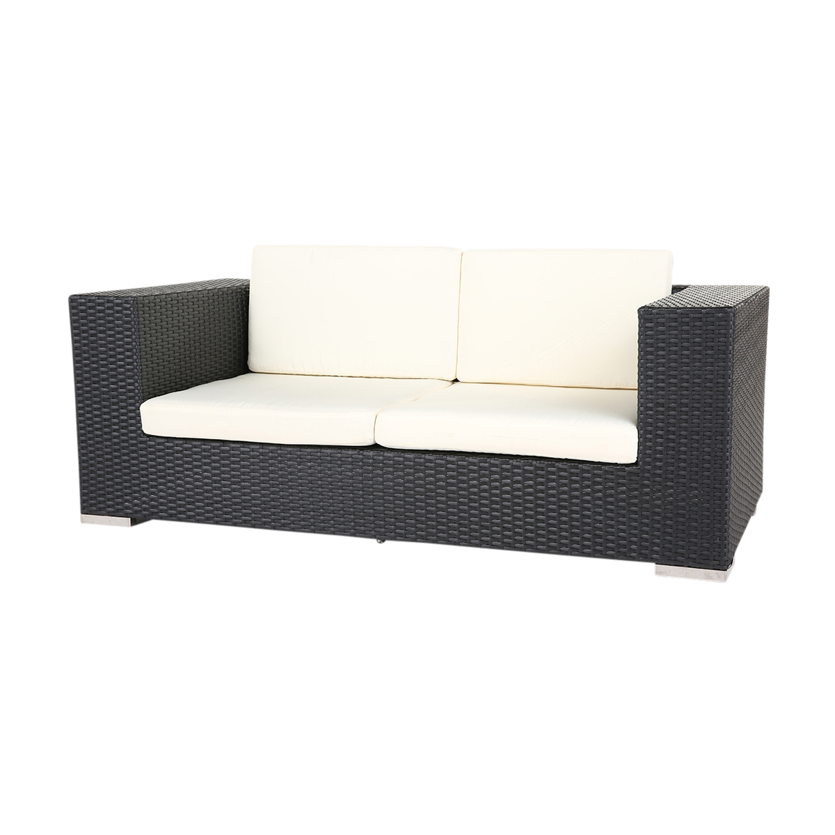 dieeventausstatter Polyrattan 2 Sitzer Sofa anthrazit Sitzkissen weiss