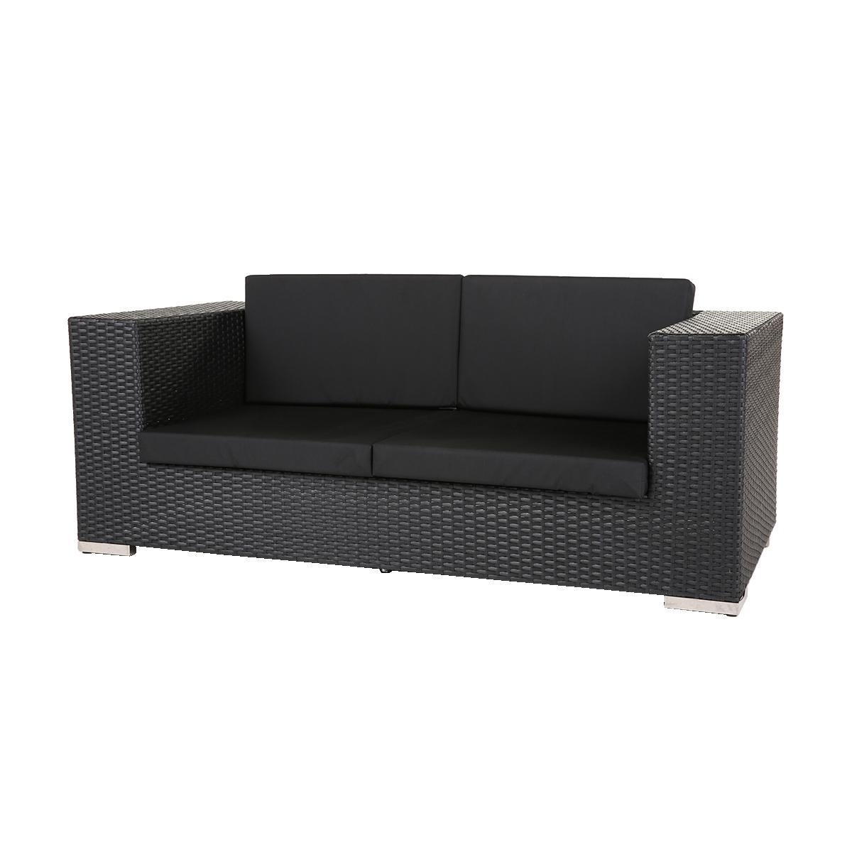 dieeventausstatter Polyrattan 2 Sitzer Sofa anthrazit Sitzkissen schwarz