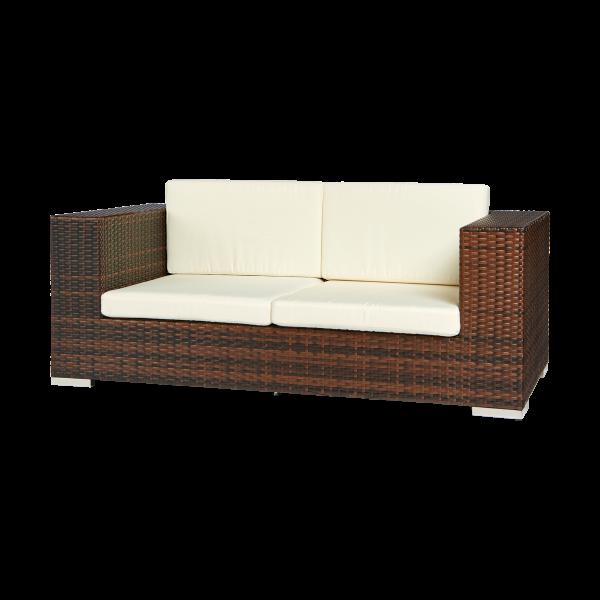 dieeventausstatter Polyrattan 2 Sitzer Sofa bicolor braun Sitzkissen weiss