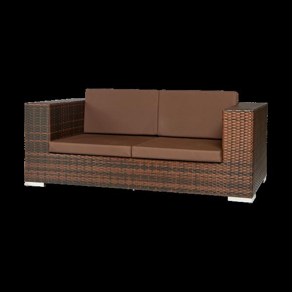 dieeventausstatter Polyrattan 2 Sitzer Sofa bicolor braun Sitzkissen dunkelbraun