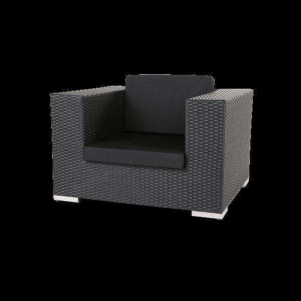 dieeventausstatter Polyrattan Sessel anthrazit Sitzkissen schwarz