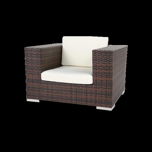 dieeventausstatter Polyrattan Sessel bicolor braun Sitzkissen weiss
