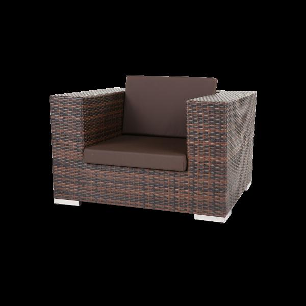 dieeventausstatter Polyrattan Sessel bicolor braun Sitzkissen dunkelbraun