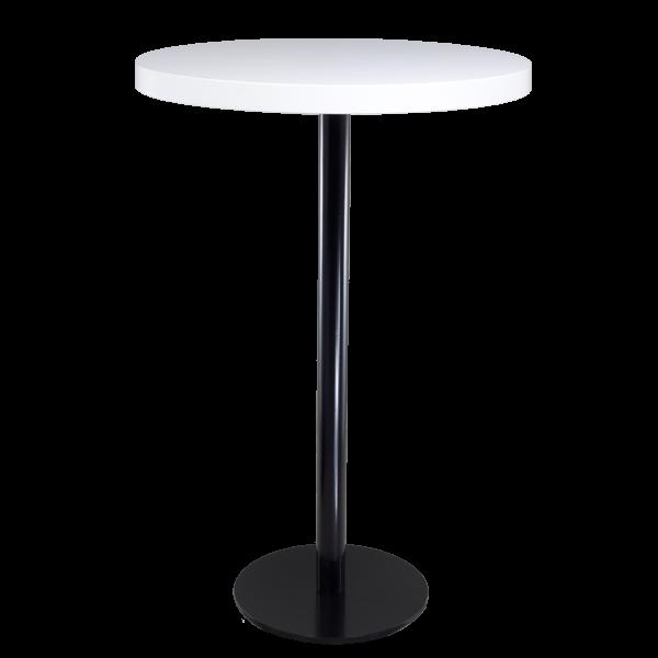 dieeventausstatter Stehtisch Modern black&white Platte weiss rund