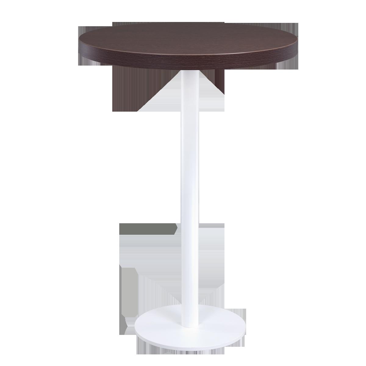 dieeventausstatter Stehtisch Modern black&white Platte braun rund
