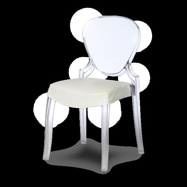 dieeventausstatter Designstuhl Casper Sitzpolster weiss