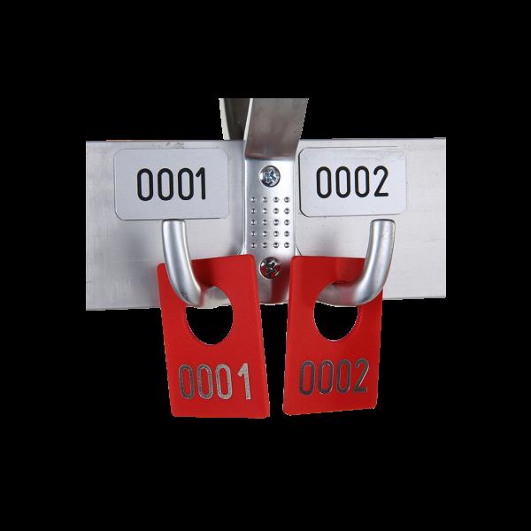 dieeventausstatter Gardrobenmarken rot Kunststoff