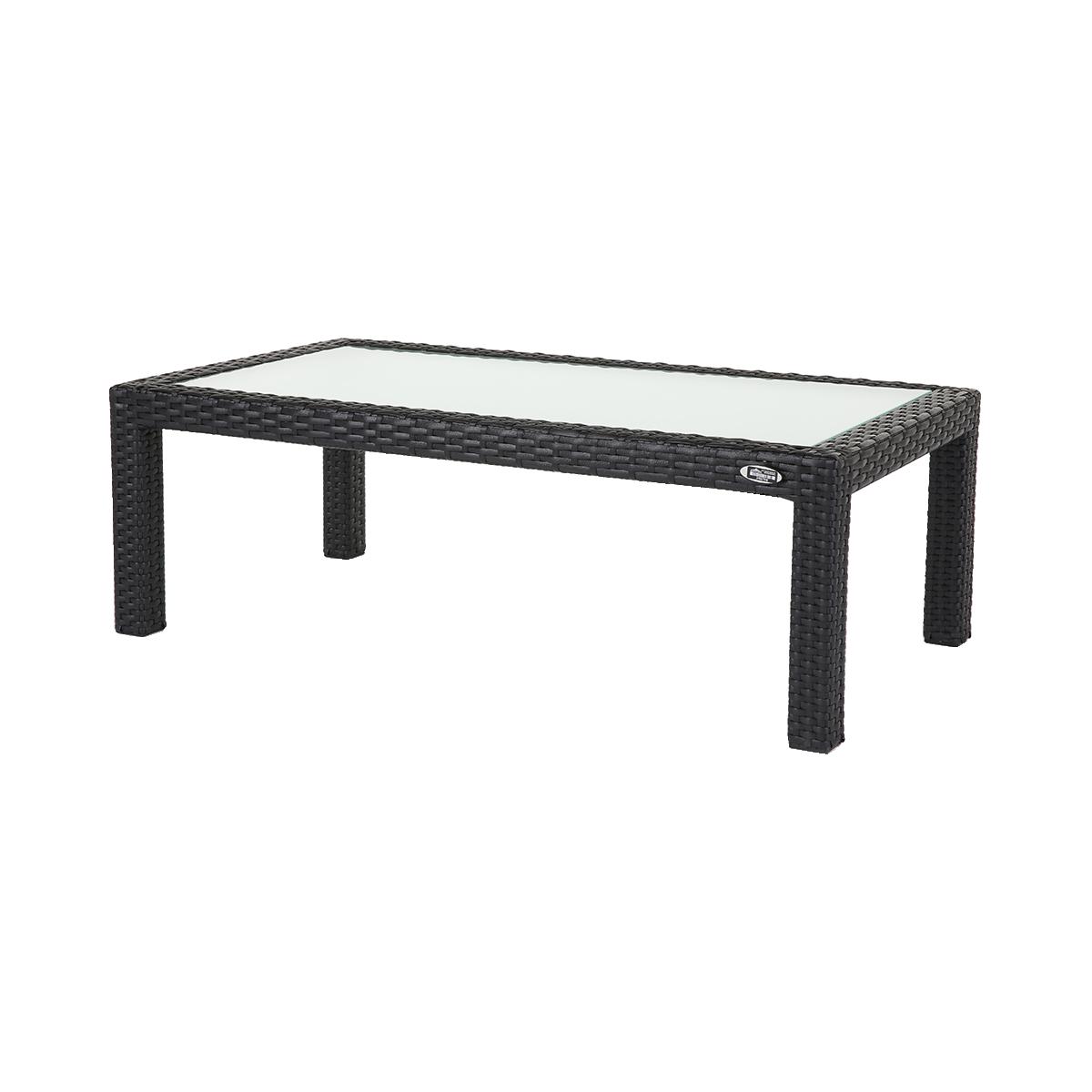 dieeventausstatter Polyrattan Tisch anthrazit Glasplatte