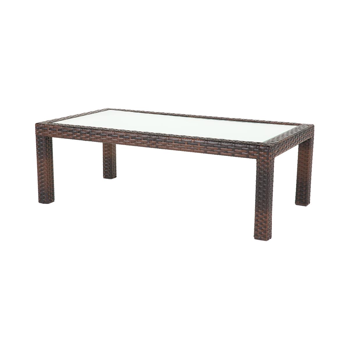 dieeventausstatter Polyrattan Tisch bicolor braun Glasplatte