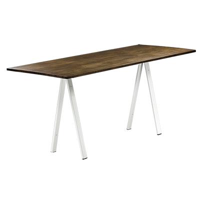 dieeventausstatter Sitztisch Ampere weisses Gestell Platte Altholz