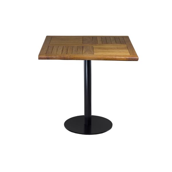 dieeventausstatter Sitztisch Modern black&white Platte Teakholz eckig