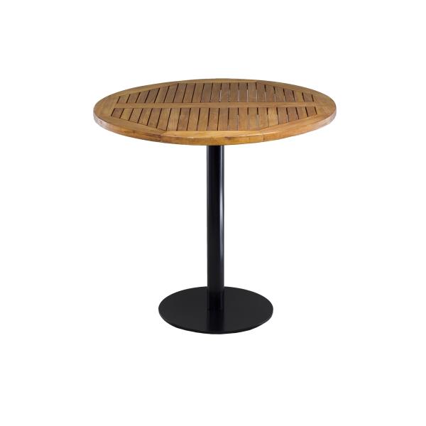 dieeventausstatter Sitztisch Modern black&white Platte Teakoholz rund