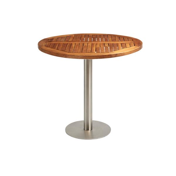 dieeventausstatter Sitztisch Modern Platte Teakholz rund