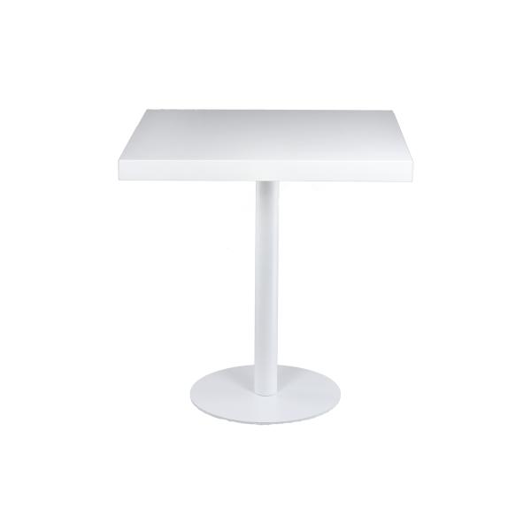 dieeventausstatter Sitztisch Modern black&white Platte weiss eckig
