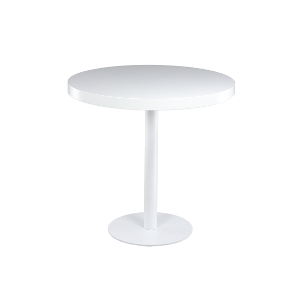 dieeventausstatter Sitztisch Modern black&white Platte weiss rund